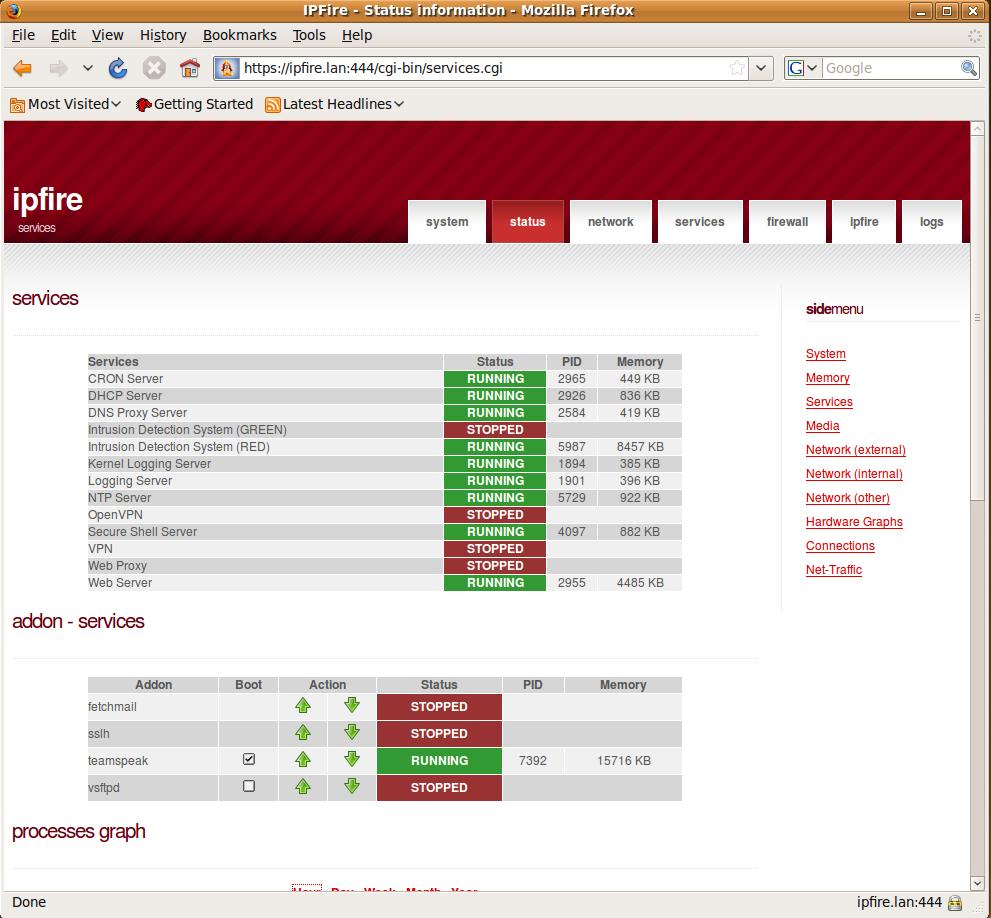 IPFire 2.5 services screen [LWN.net]