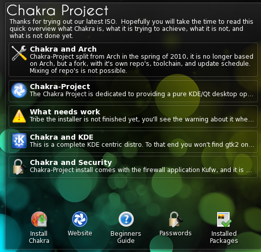 Chakra welcome widget [LWN net]