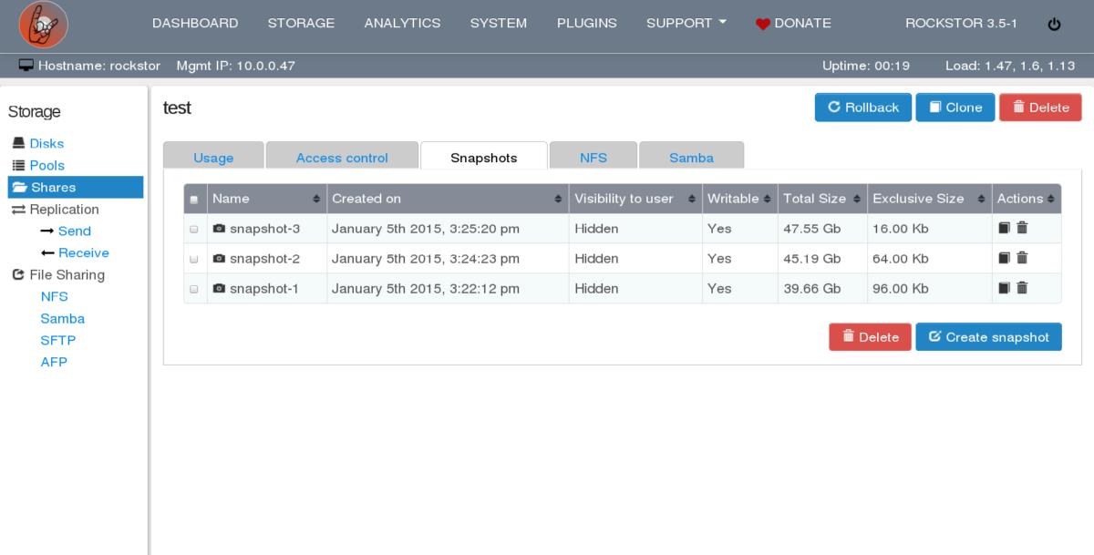 Rockstor web administrative interface screenshots [LWN net]