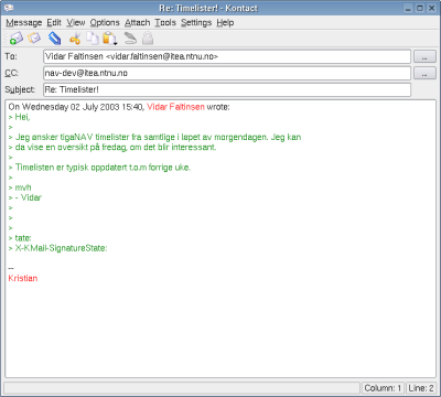 KMail composer